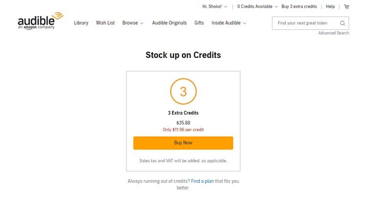 米国Audibleでは3クレジットお得に買える