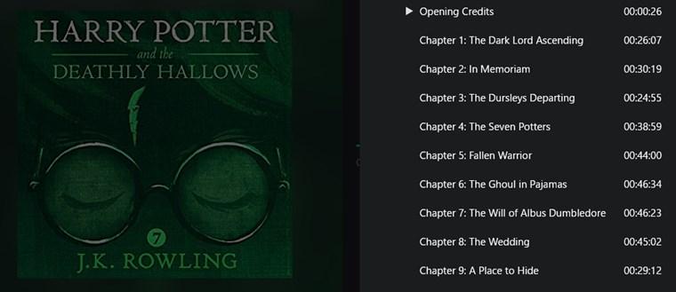 『ハリーポッターと死の秘宝』英語版オーディオブックの中身(目次)