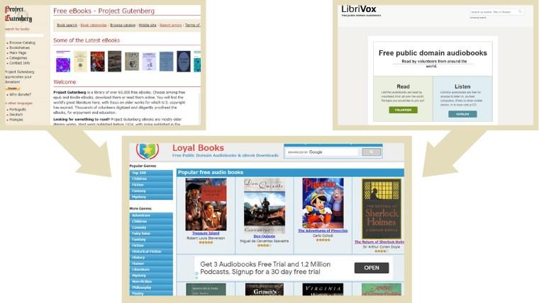 Project GutenbergとLibriVoxがLoyal Booksにまとめられている