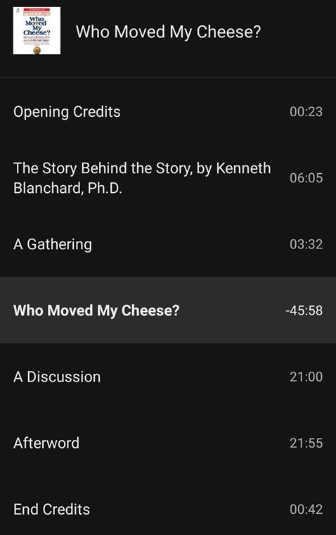 チーズはどこへ消えた?洋書のオーディオブックの目次