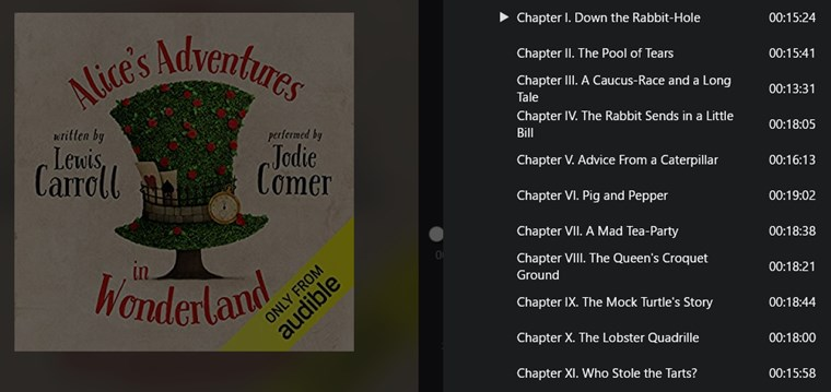 『不思議の国のアリス』0円のオーディオブックの中身(目次)