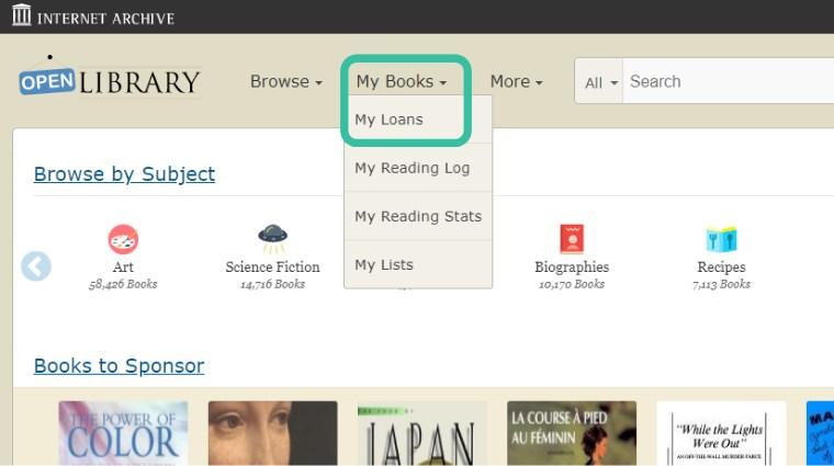 Open Library 自分が借りている本を見る方法