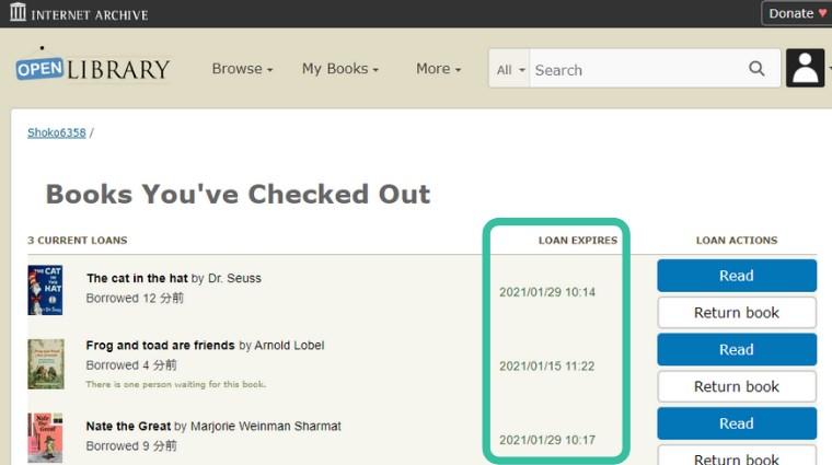 Open Library 借りている本の返却日確認方法