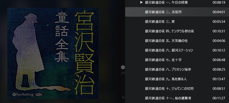 『宮沢賢治童話全集』オーディオブックの中身(目次)