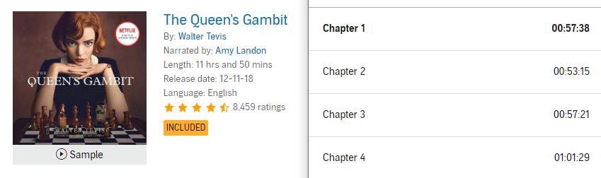 【Audible Plus】(米国で聴き放題)The Queen's Gambit