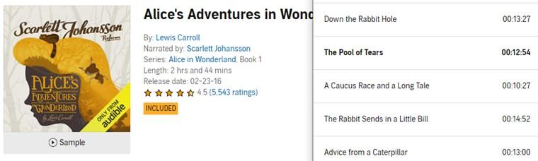【Audible Plus】(米国で聴き放題)Alice's Adventures in Wonderland