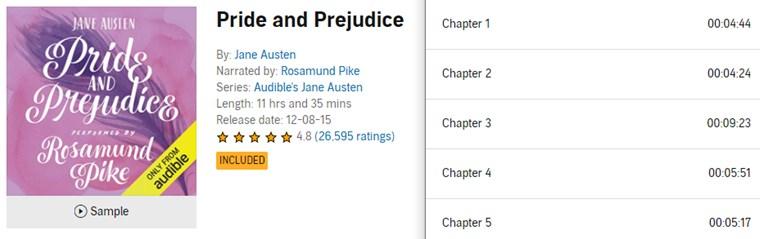 【Audible Plus】(米国で聴き放題)Pride and Prejudice