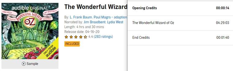 【Audible Plus】(米国で聴き放題)The Wonderful Wizard Oz