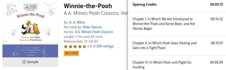 【Audible Plus】(米国で聴き放題)Winnie the Pooh