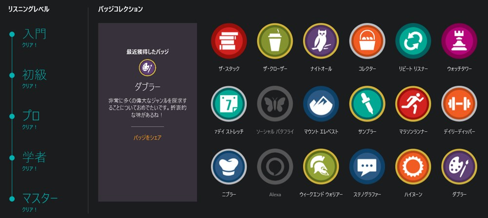 アメリカのAudibleアプリ(リスニングレベル・バッジコレクション)