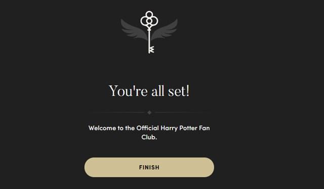 Official Harry Potter Fan Club登録完了画面