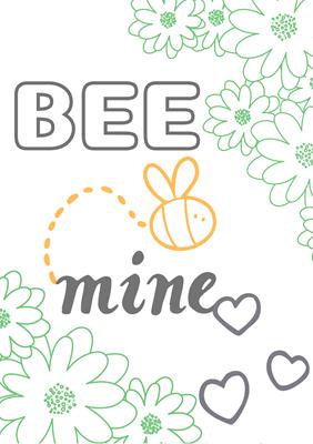 バレンタインカード(色塗り用無料素材 BEE MINE)