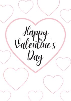 バレンタインカード(色塗り用無料素材 Happy Valentine's Day)