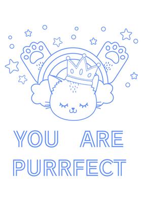 バレンタインカード(色塗り用無料素材 YOU ARE PURRFECT)
