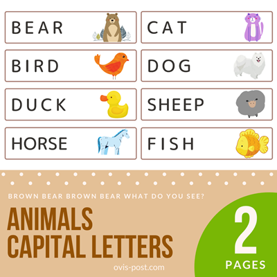 animal capital letters - Brown bear brown bear what do you see? - FREE PRINTABLES