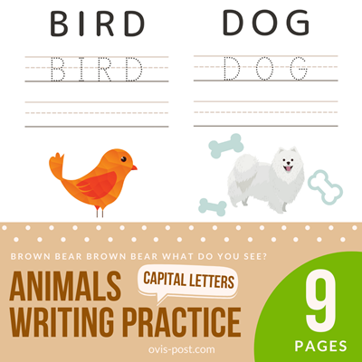 animals writing practice handwriting practice sheets 3 lines - Brown bear brown bear what do you see? - FREE PRINTABLES