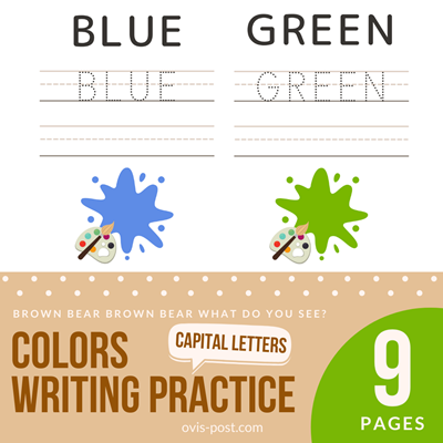 colors writing practicehandwriting practice sheets 3 lines - Brown bear brown bear what do you see? - FREE PRINTABLES