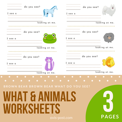 what & animals worksheets - Brown bear brown bear what do you see? - FREE PRINTABLES