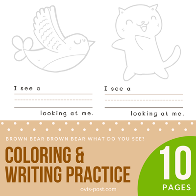 coloring & writing practice - Brown bear brown bear what do you see? - FREE PRINTABLES