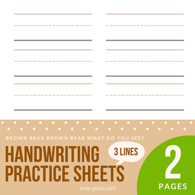 handwriting practice sheets 3 lines - Brown bear brown bear what do you see? - FREE PRINTABLES